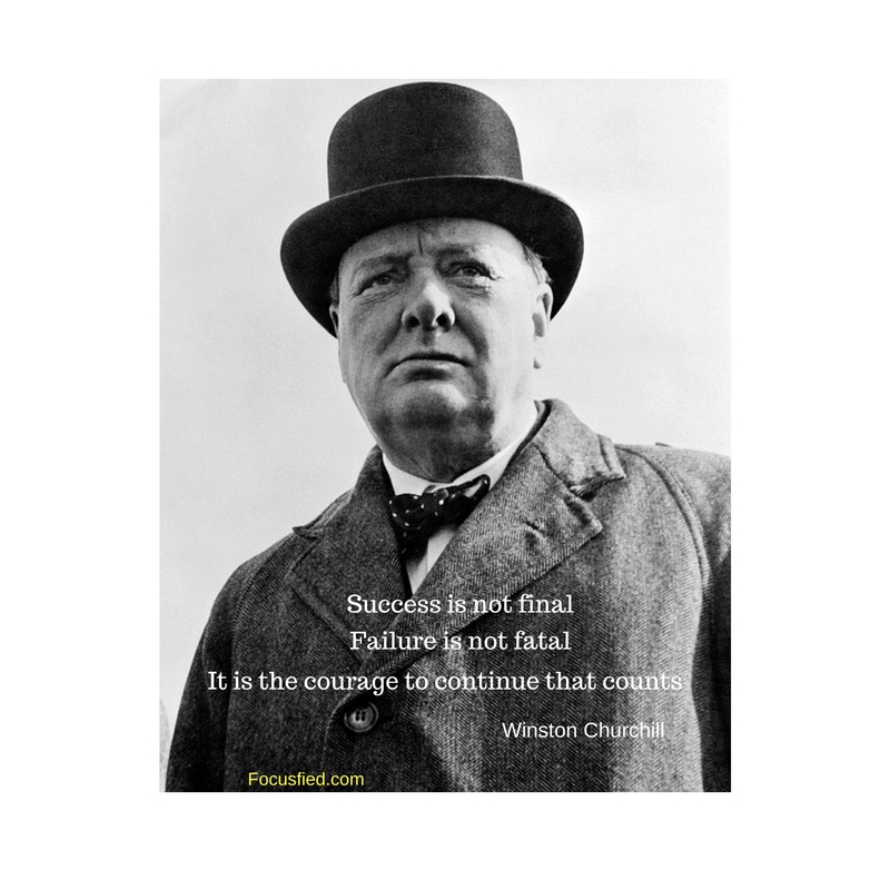 Courage to go on after failure is what matters most. #WinstonChurchill #Quote