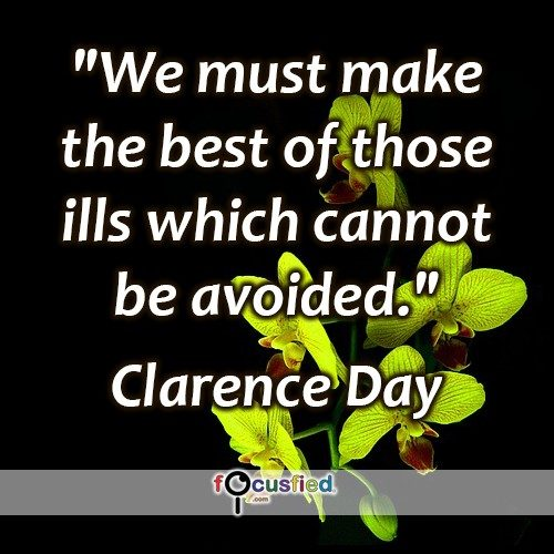 """We must make the best of those ills which cannot be avoided."" -Clarence Day"