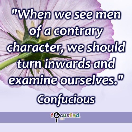 When we see men of a contrary character, we should turn inwards and examine ourselves. – Confucius