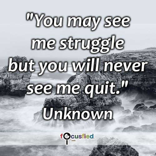 You may see me struggle but you will never see me quit. – Unknown