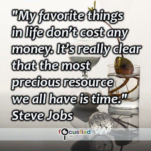 My favorite things in life don't cost any money. It's really clear that the most precious resource we all have is time. -Steve Jobs