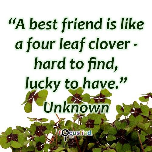 A best friend is like a four leaf clover – Hard to find, lucky to have. – Unknown